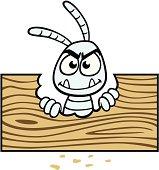 Cartoon Termite With Wood